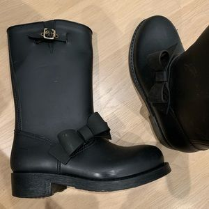 RED Valentino Shoes - RED Valentino Black Bowtie Rain boots
